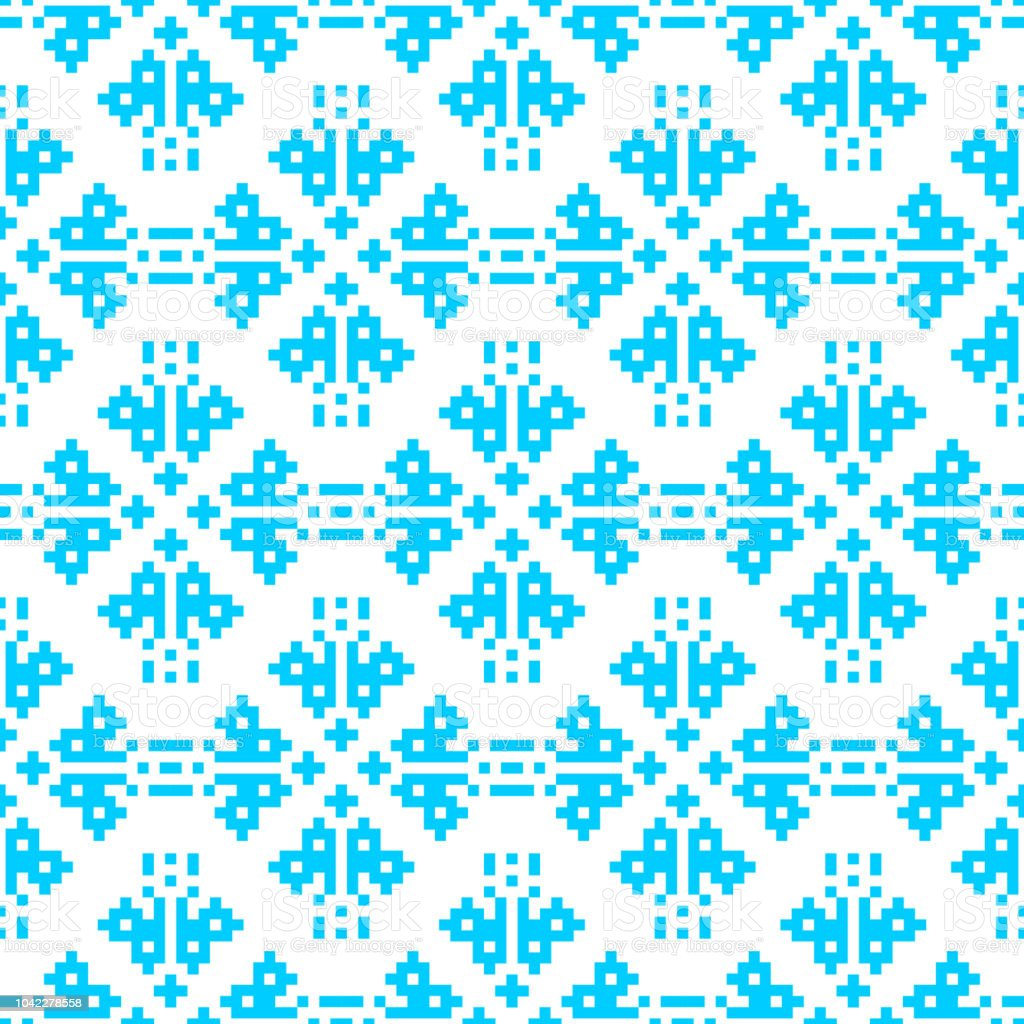 pixel embroidery blue christmas pattern seamless new year vector background royalty free pixel embroidery