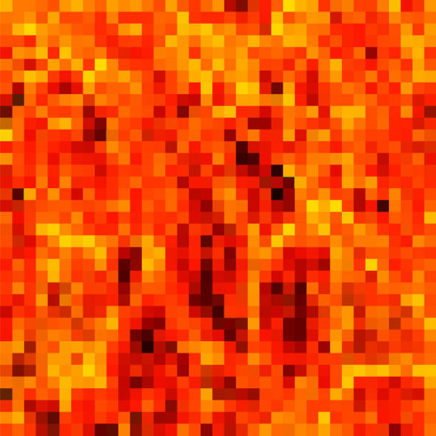 Pixel Explode Flash, Cartoon Explosion, Star Burst. Sharp Particles Fly in the Air. Red Square Pattern. vector art illustration