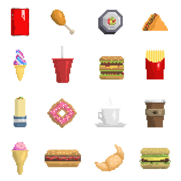 pixel-fast-food-vektor-icons obst süße zeichen von fastfood computer retro-game-design web grafik essen küche abbildung schnell restaurant pixelig symbolelement - hamburger schnellgericht stock-grafiken, -clipart, -cartoons und -symbole