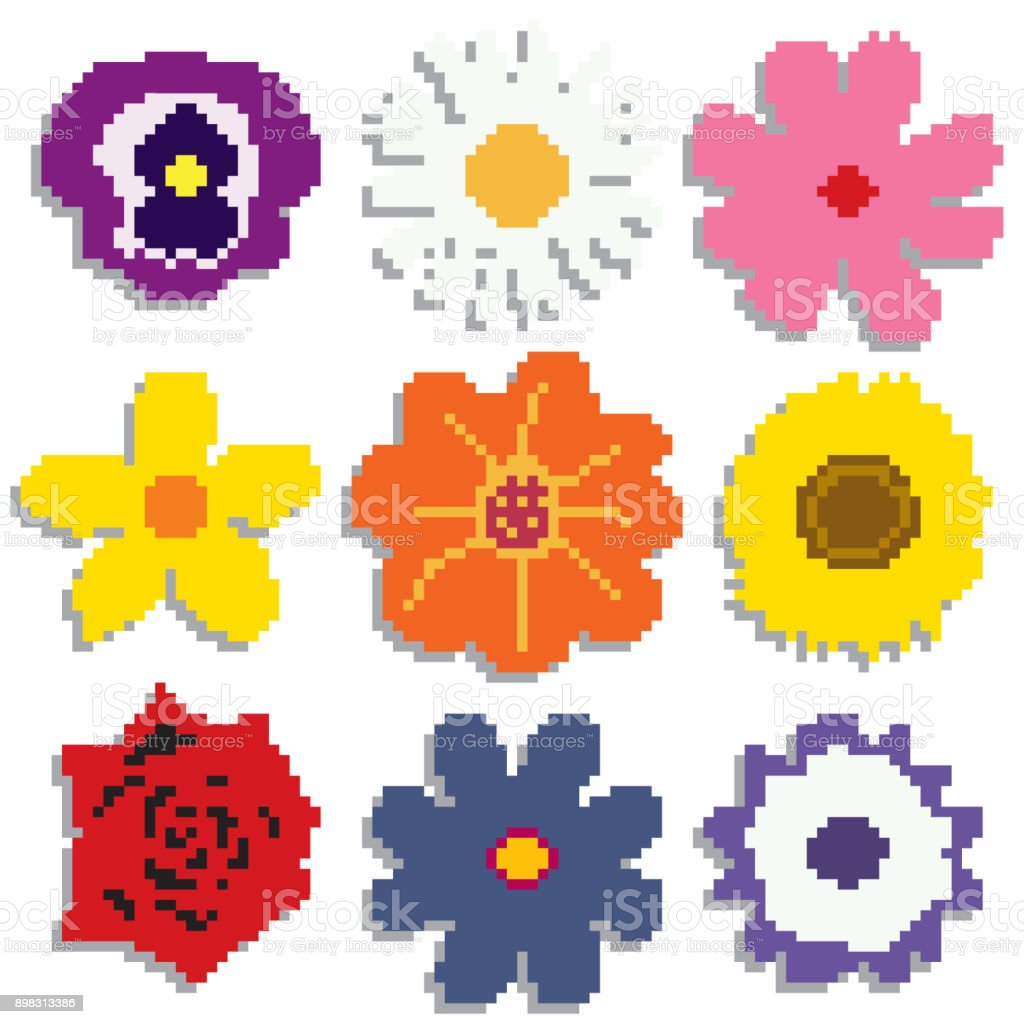 Pixel Flowers On White Background Stock Vector Art More Images Of