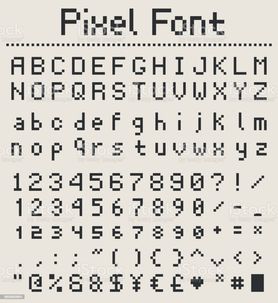 Pixel Font Alphabet Letters And Numbers Retro Videgame Type Royalty Free