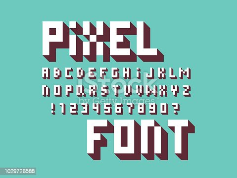 Pixel font. Vector alphabet letters and numbers. Typeface design.