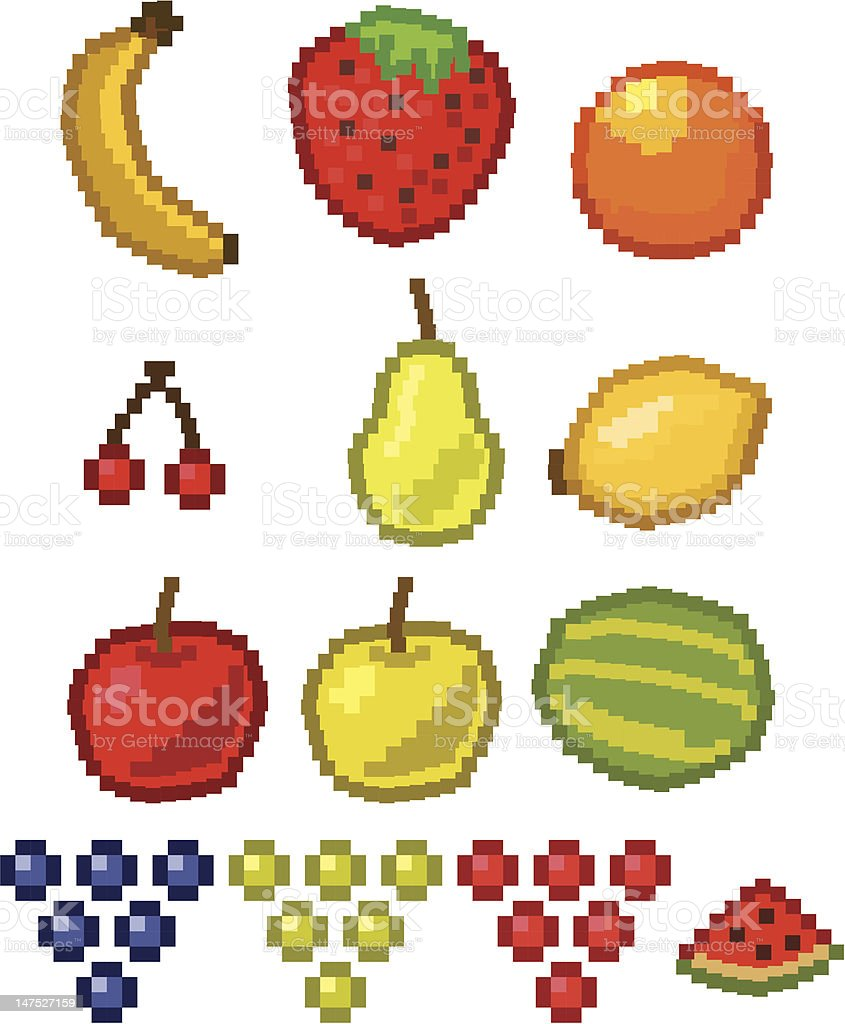 Pixel Fruit Vector Illustration Stock Vector Art & More