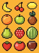 A set of isolated fruits in Pixel Art.