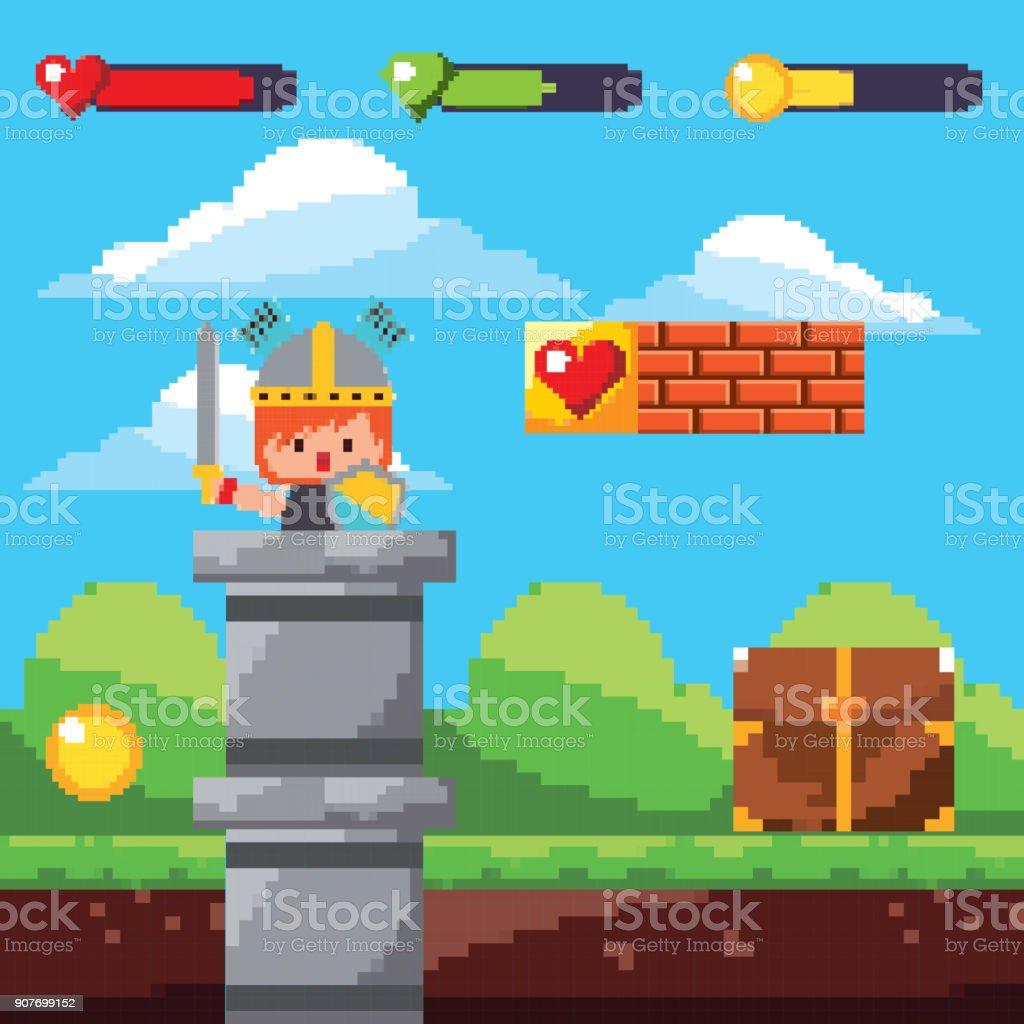 pixel game arcade with warrior treasure landscape vector art illustration