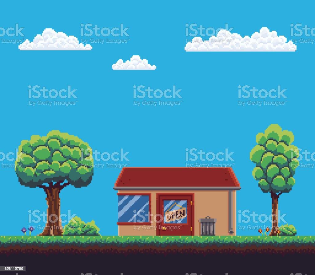 ピクセル ゲームの背景 のイラスト素材 858115796 | istock