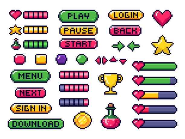 Pixel game buttons. Games UI, gaming controller arrows and 8 bit pixels button vector set Pixel game buttons. Games UI, gaming controller arrows and 8 bit pixels button. Game pixel art magic items, digital pixelated lives bar and menu button. Vector isolated symbols set leisure games stock illustrations