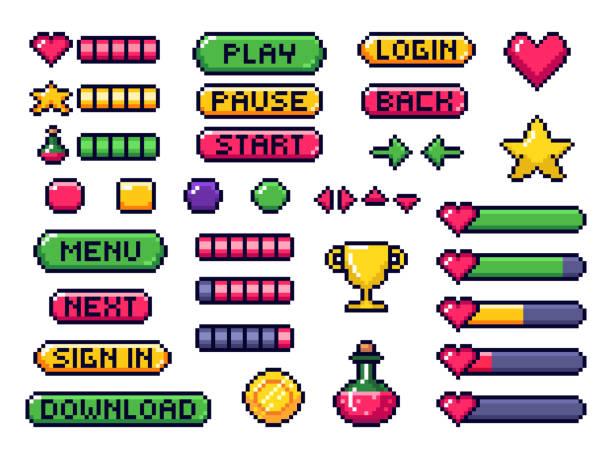stockillustraties, clipart, cartoons en iconen met pixel spelknoppen. games ui, gaming controller pijlen en 8 bit pixels knop vector set - vrijetijdsspel