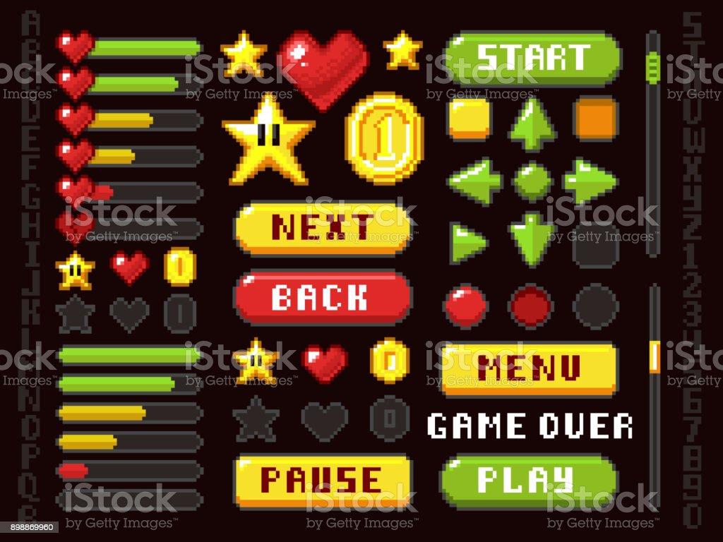 Pixel game buttons, navigation and notation elements and symbols vector set vector art illustration