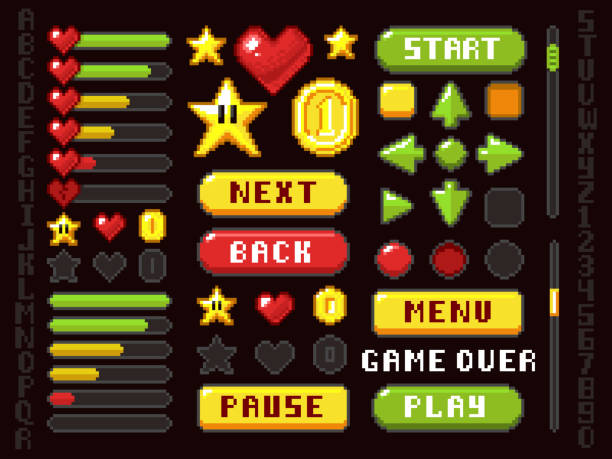 Pixel game buttons, navigation and notation elements and symbols vector set Pixel game buttons, navigation and notation elements and symbols vector set. Button interface game arrow and play, back and next illustration leisure games stock illustrations
