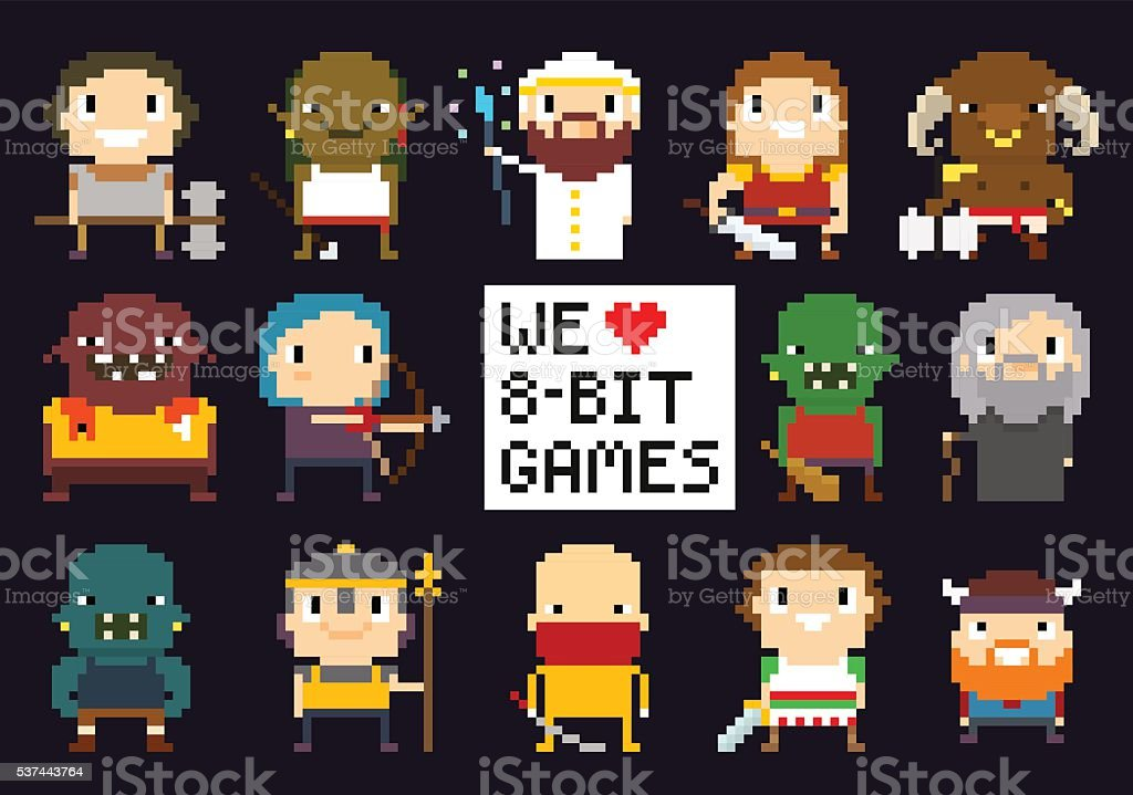 Pixel Game Characters vector art illustration