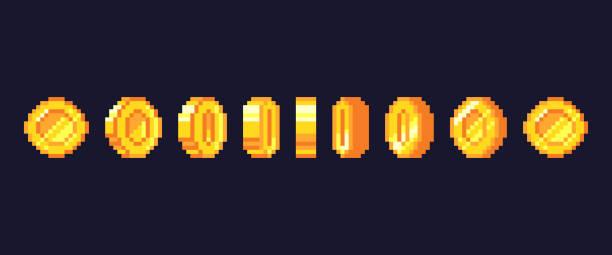 stockillustraties, clipart, cartoons en iconen met pixel spelmunten animatie. gouden korrelig munt geanimeerde frames, retro 16 bit pixels goud en video games geld vector illustratie - bitcoin