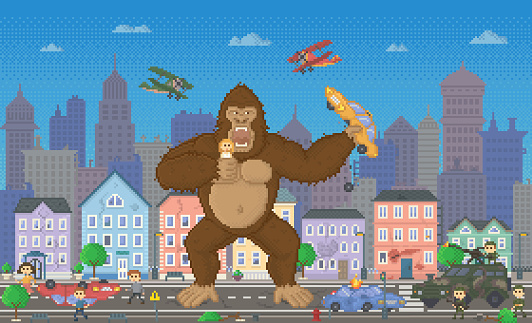 Pixel Game Design, 8 Bit Cityscape and Monster