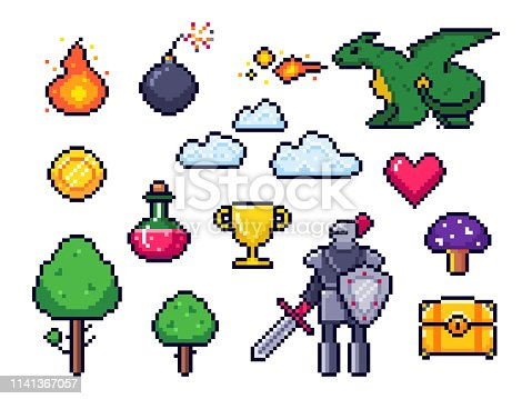 Pixel game elements. Pixelated warrior and 8 bit pixels dragon. Retro games clouds, trees and icons vector set