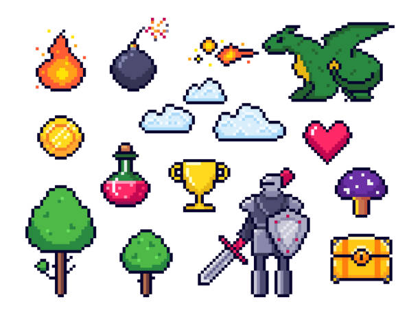 Pixel game elements. Pixelated warrior and 8 bit pixels dragon. Retro games clouds, trees and icons vector set Pixel game elements. Pixelated warrior and 8 bit pixels dragon. Retro games clouds, trees and icons. Arcade pixelation gaming fire, heart and potion. Vector isolated symbols set leisure games stock illustrations