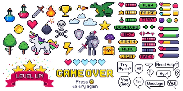 Pixel game elements set. Digital life bars and menu button as menu, stop and play. Speech bubbles with message
