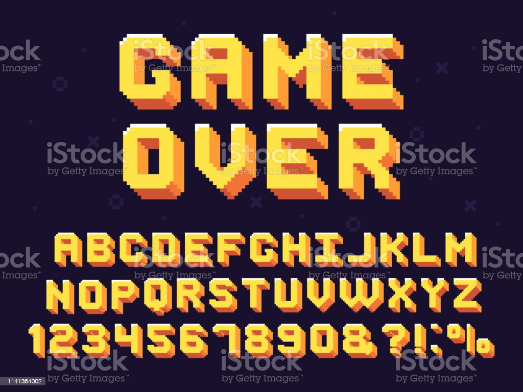 Pixel game font. Retro games text, 90s gaming alphabet and 8 bit...