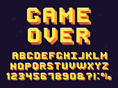 Pixel game font. Retro games text, 90s gaming alphabet and 8 bit computer graphic letters. Pixelated typeface letter, arcade game 8 bit pixel text and numbers retro vector symbols set