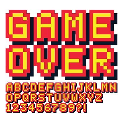 Pixel game font. Retro games text,