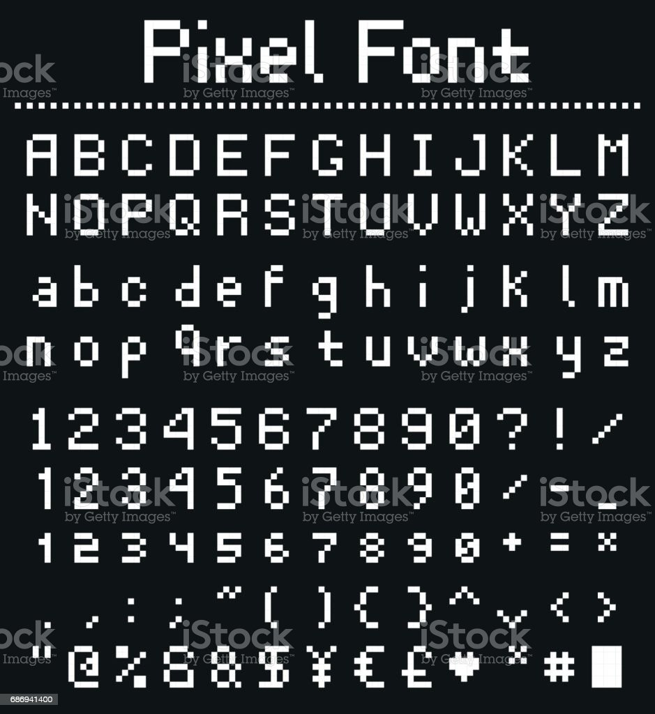Pixel Game Font Retro Styled Stock Illustration
