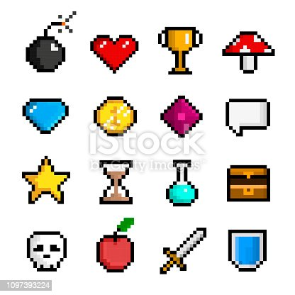 Pixel game icon set, computer and web interface. Digital art characters. Vector flat style cartoon illustration isolated on white background