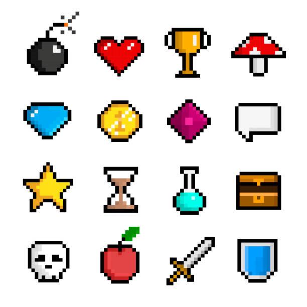 stockillustraties, clipart, cartoons en iconen met pixel spel pictogramserie, computer en webinterface - vrijetijdsspel