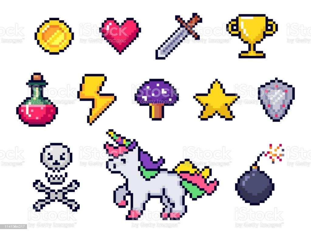 éléments De Jeu Pixel Retro 8 Bit Jeux Art Pixels Coeur Et