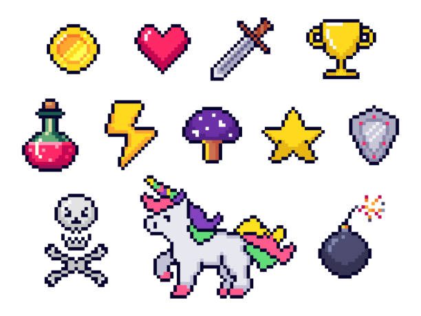 Pixel game items. Retro 8 bit games art, pixelated heart and star icon. Gaming pixels icons vector set Pixel game items. Retro 8 bit games art, pixelated heart and star icon. Gaming pixels, arcade pixelation game unicorn, bomb and coin. Colorful isolated icons vector set computer games stock illustrations
