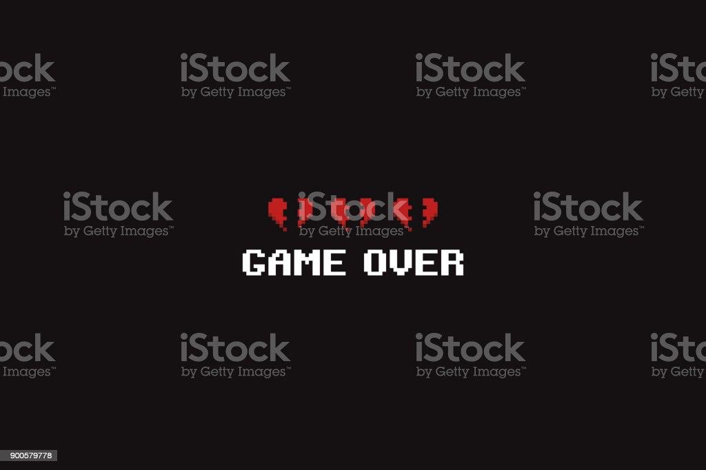 Pixel Game Over vector art illustration