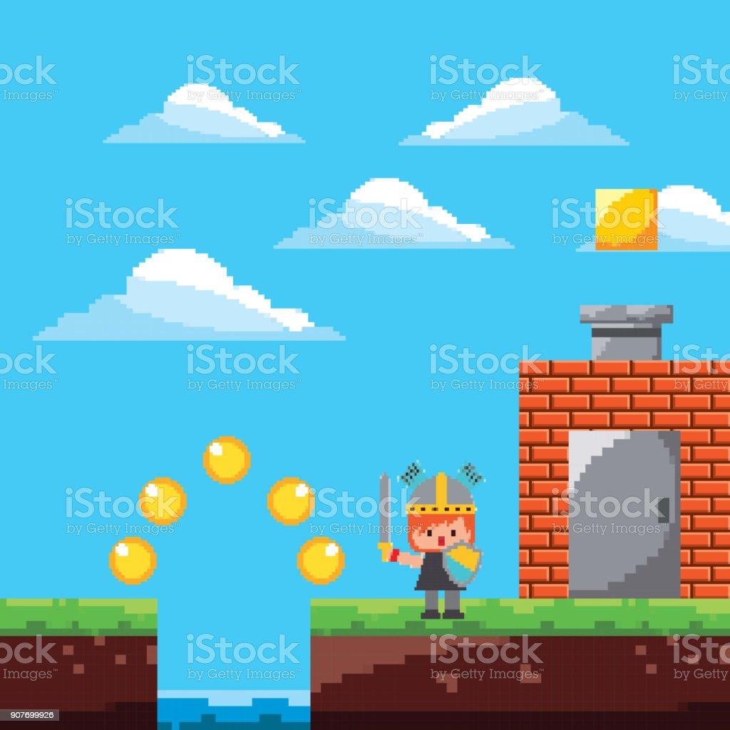 pixel game platform level warrior door coins vector art illustration