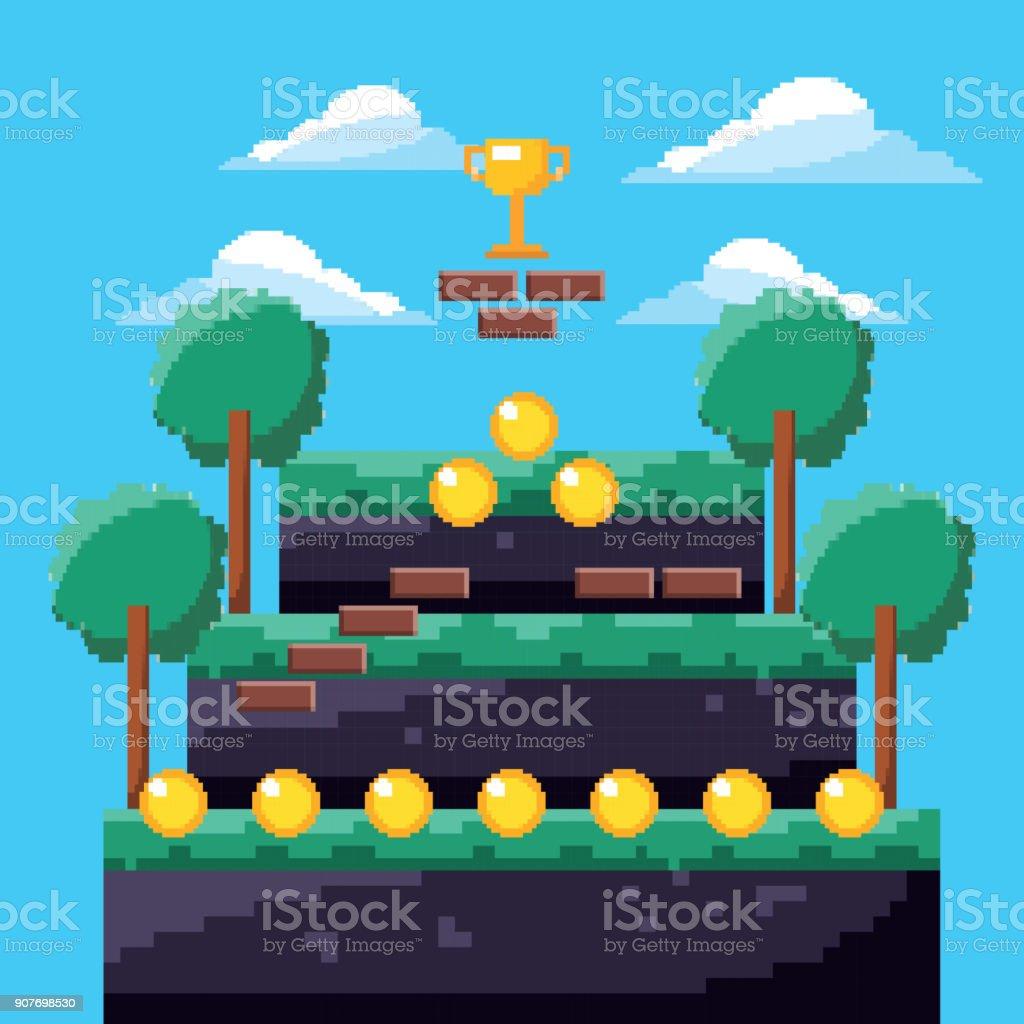 pixel game trophy level coins tree landscape vector art illustration