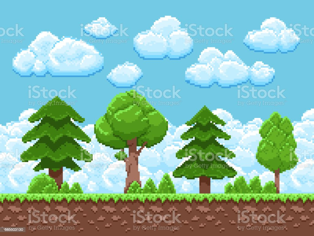 Pixel game vector landscape with trees, sky and clouds for 8 bit vintage arcade game vector art illustration