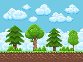 Pixel game vector landscape with trees, sky and clouds for 8 bit vintage arcade game