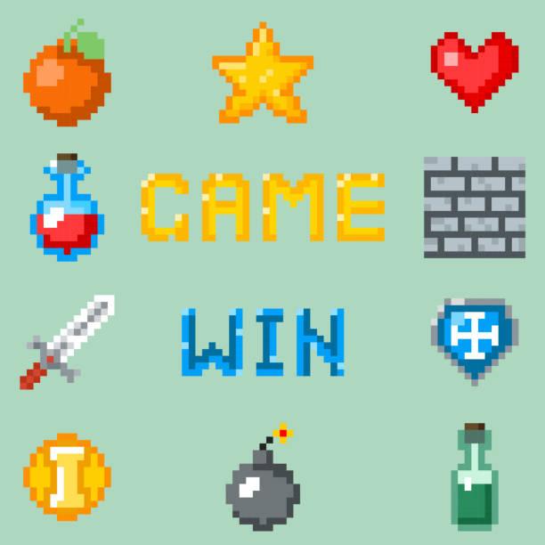pixel games icons for web, app or video game interface - gepixelt stock-grafiken, -clipart, -cartoons und -symbole