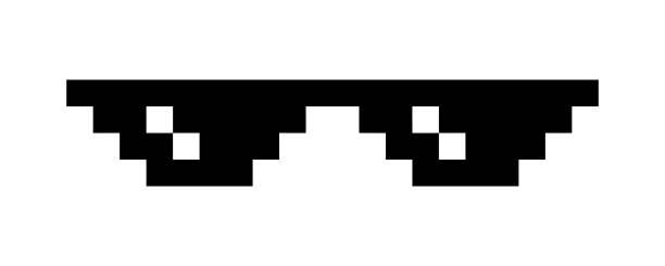흰색으로 분리된 픽셀 안경 - 악한 stock illustrations