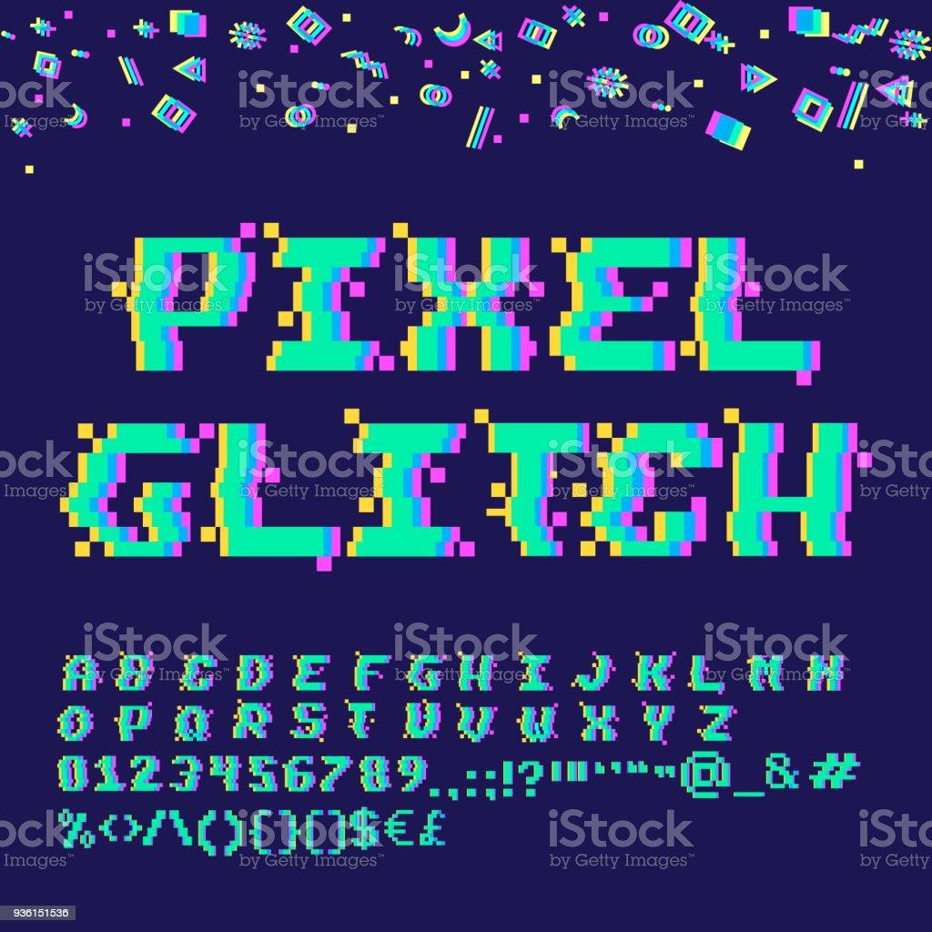 Pixel glitch alphabet vector art illustration