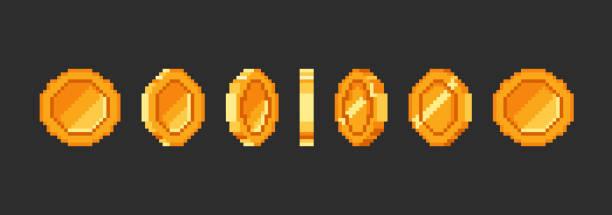 ilustrações, clipart, desenhos animados e ícones de pixel gold coin animação para 16 bits jogo retro. - moeda