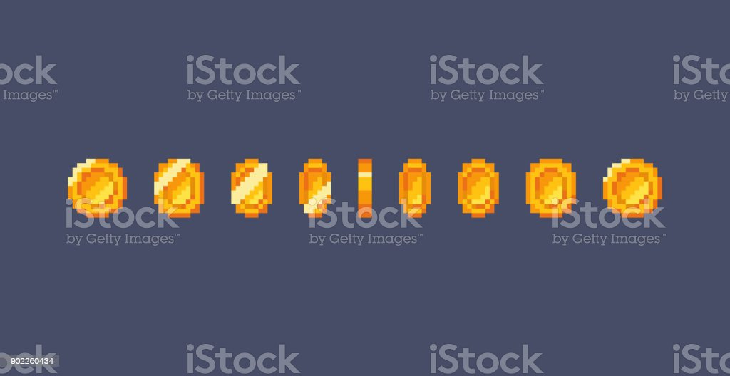 Pixel gold coin animation vector art illustration