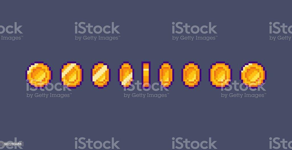 Animation de pièce d'or de pixel animation de pièce dor de pixel vecteurs libres de droits et plus d'images vectorielles de application mobile libre de droits