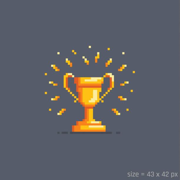 Pixel golden winner cup.Vector illustration. Pixel golden winner cup. Flat cartoon style. Vector illustration. leisure games stock illustrations