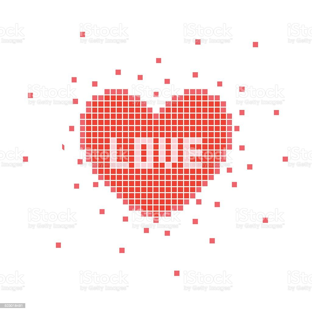 Pixel Heart With Love Word Stock Illustration Download Image Now Istock