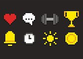 Pixel icons for app, web or video game interface. Health and activity, alarm and notification and more.