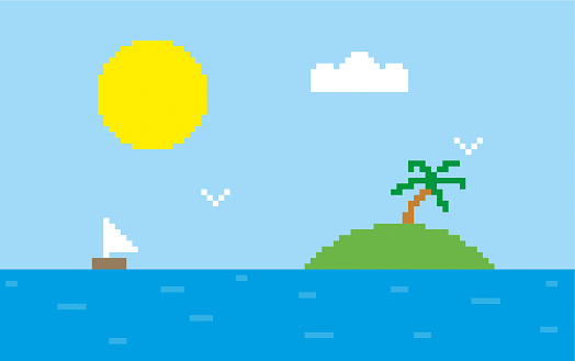 Pixel island and blue sky stock illustration