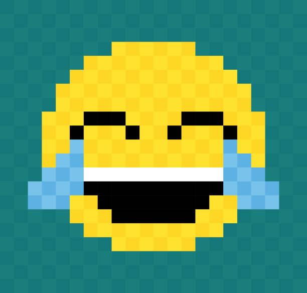 pixel lachendes weinendes gesicht - smileys zum kopieren stock-grafiken, -clipart, -cartoons und -symbole
