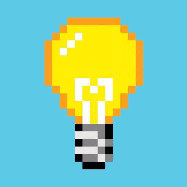Pixel Glühbirne Idee Kunst Cartoon retro-Spiel-Stil – Vektorgrafik