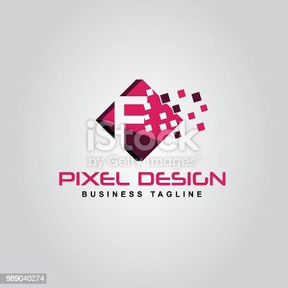 istock Pixel Logo design of the F letter logo 989040274
