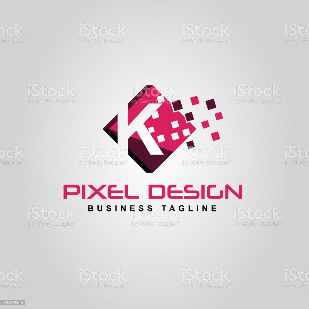 Pixellogodesign Des Logos K Schreiben Stock Vektor Art Und
