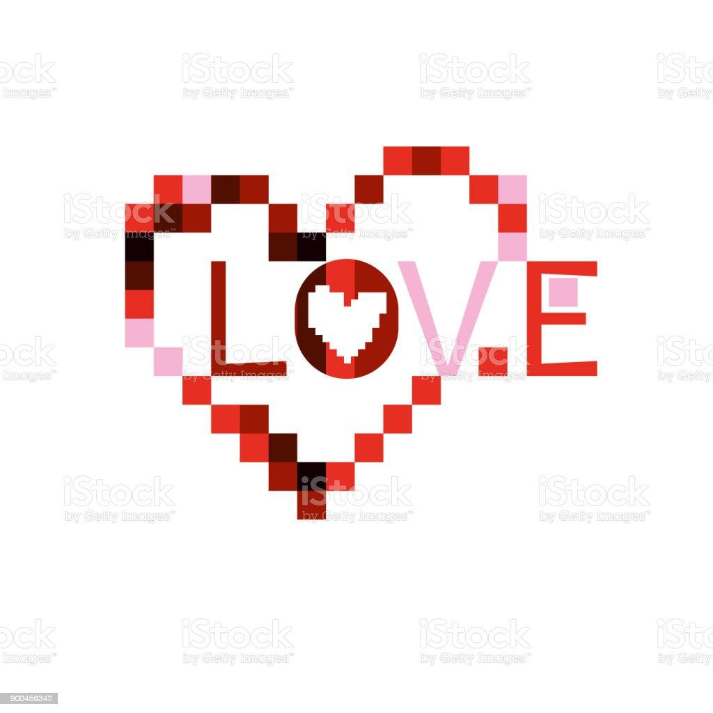 Pixel Love Heart Stock Illustration Download Image Now