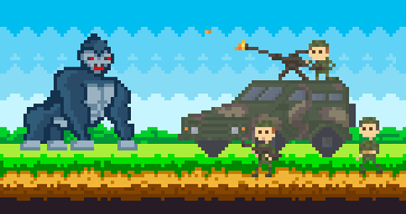 Pixel machine with military fighting big monkey. Pixel-game scene with soldiers, war automobile