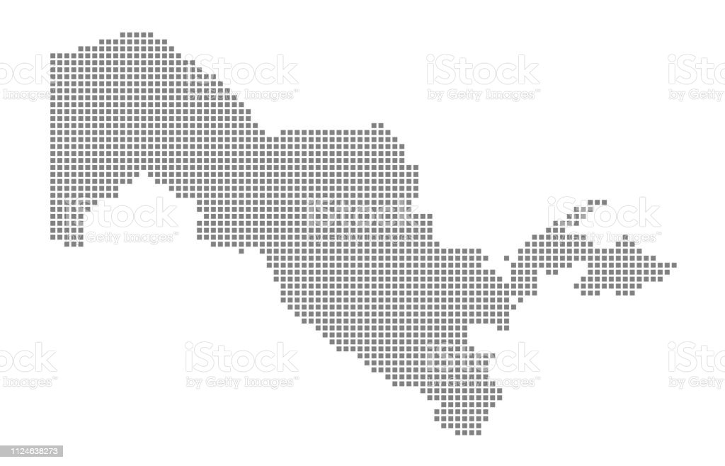 Pixel Map Vector Dotted Map Isolated On White Background Abstract ...